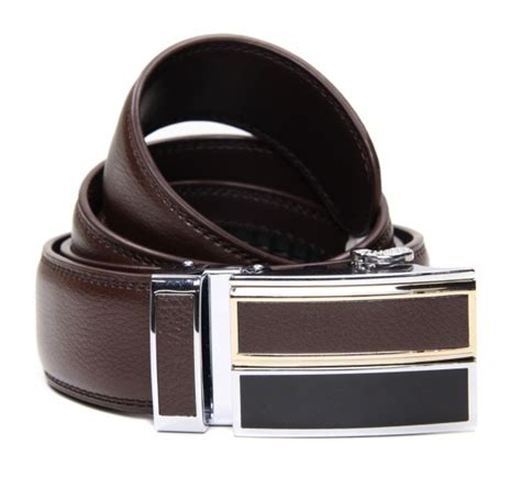 mens brown leather ratchet belt gents shop