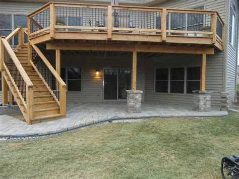 wood deck with paver patio paver patio and wooden deck lawn systems inc