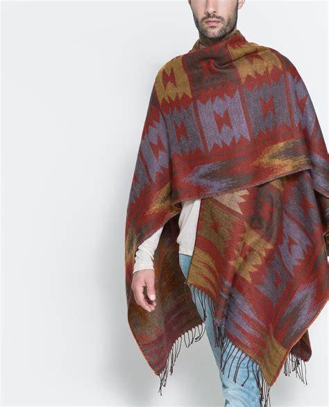 brown pattern poncho zara ethnic poncho in brown for men lyst