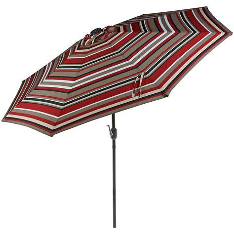 Solar Patio Umbrella w/ Tilt/Crank, 9 Ft. Aluminum, Solar