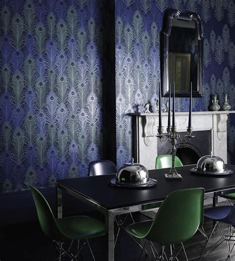 york wallcoverings home design center peacock wallpaper in midnight and metallic jade by matthew