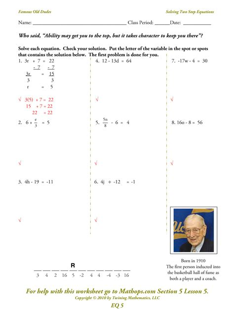 Solving Two Step Equations Worksheet by Free Coloring Pages Of One Equation