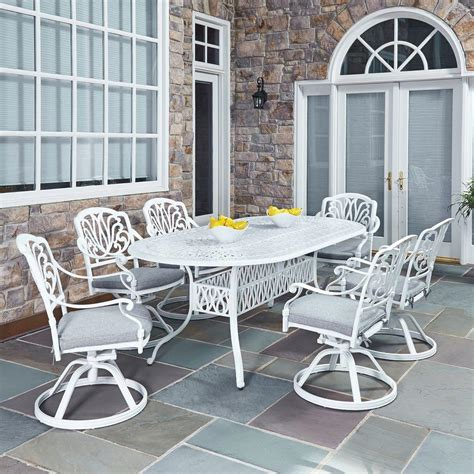 Home Styles Floral Blossom White 7 Piece All Weather Patio White Patio Dining Set