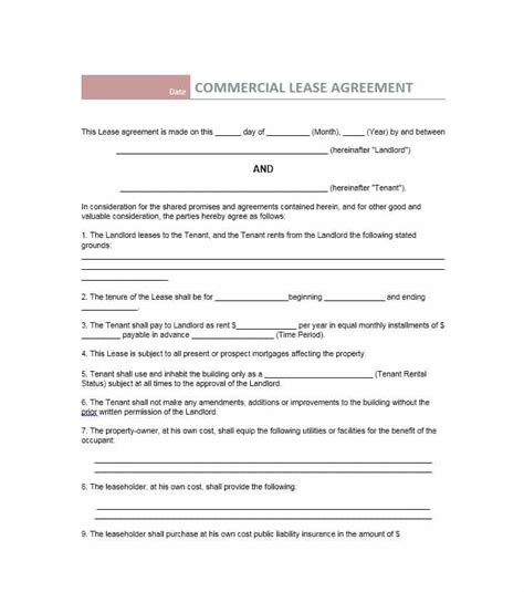 business lease template 26 free commercial lease agreement templates template lab