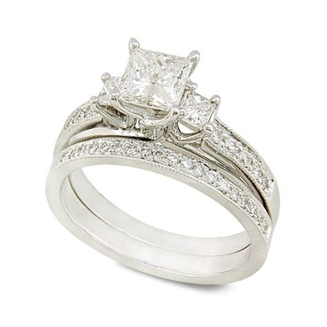 white gold princess cut wedding ring set the wedding