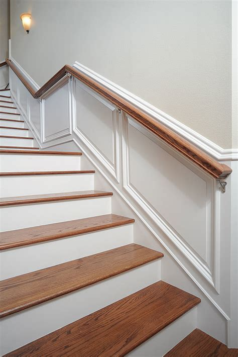 wainscoting panels up stairs taking wainscot up stairs homebuilding