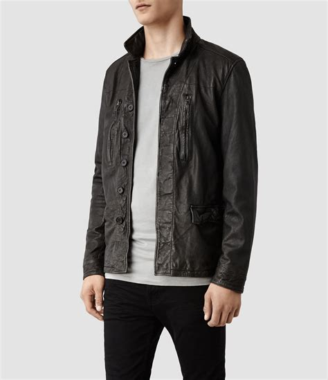 Tshirt Smith Realty Specialist Seuseuh Beungeut allsaints melville leather jacket in gray for lyst