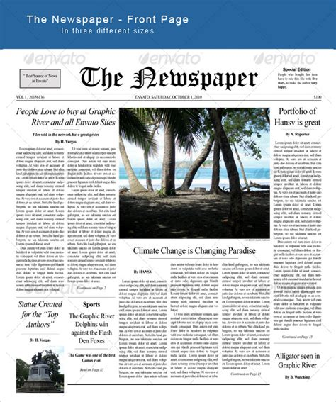 template for newspaper front page sle newspaper front page template 6 documents in pdf