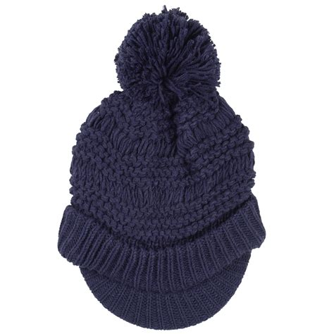willow hat chunky knit peak ribbed brim pom pom