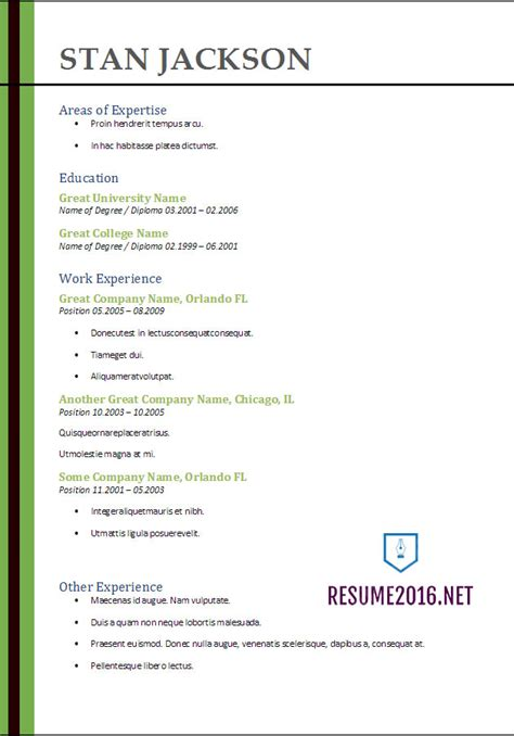 Job Resume Pattern by Resume Format 2017 20 Free Word Templates