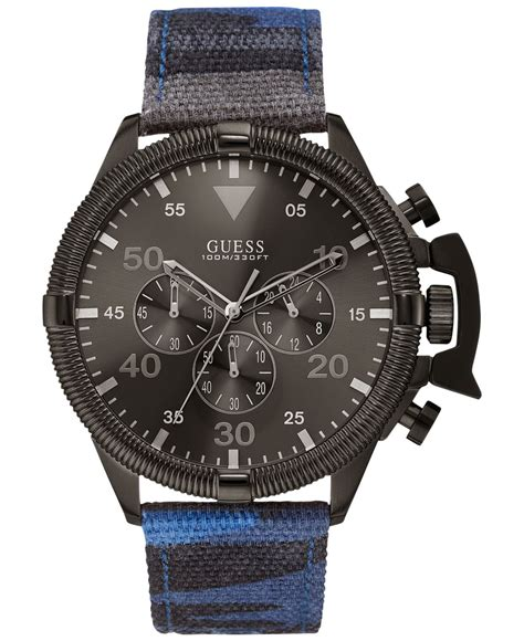 Guess Chrono Polos Leather lyst guess s chronograph blue camouflage canvas
