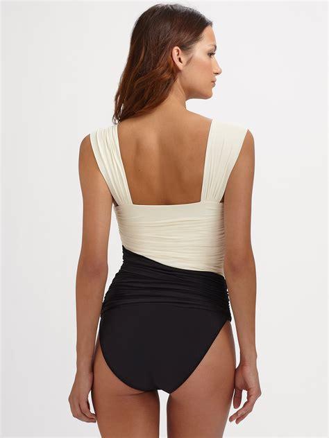 draped swimsuit clube bossa one piece draped swimsuit in black lyst