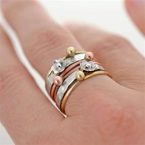 mixed metals sterling silver mixed metal floral stacking ring martha