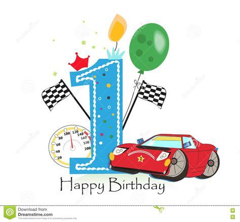 Birthday Card Auto Sender First Birthday Greeting Card Car Vector Illustration