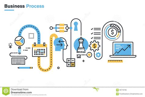 workflow strategy flat line illustration of business process stock vector