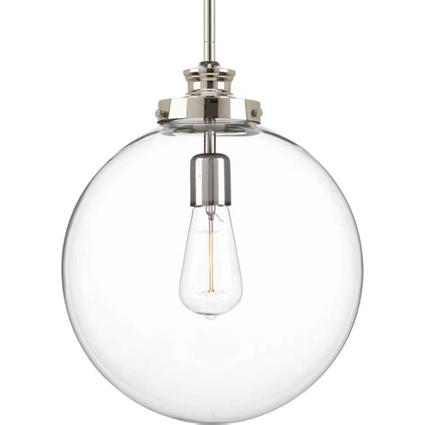 Polished Nickel Pendant Light Progress Lighting Penn Collection 1 Light Polished Nickel Large Pendant With Clear Glass P5328