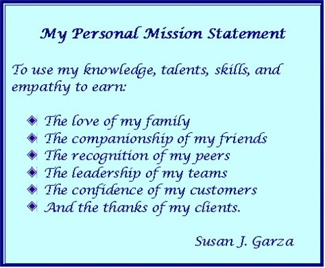 personal mission statement susan j garza