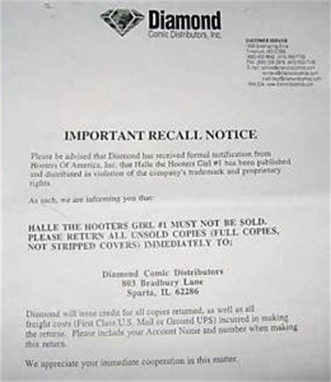 Sle Letter For Product Recall Recalled Comics Verified Recalled Comics