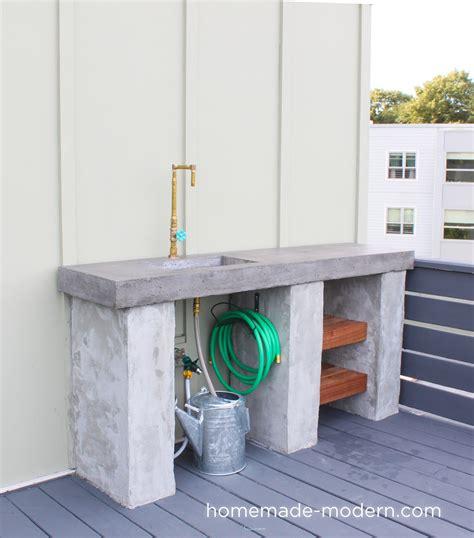 homemade modern ep diy outdoor kitchen  concrete countertop