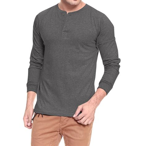 Sleeve T Shirt softwear mens anthra melange henley sleeve t shirt