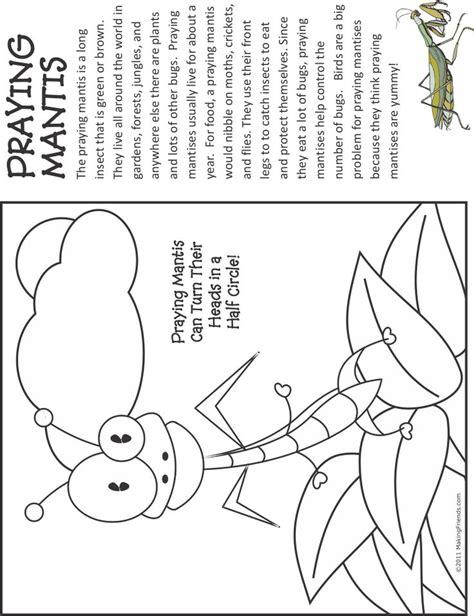 Praying Mantis Fact And Coloring Page Coloring Pages Praying Mantis Coloring Page