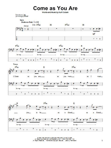guitar tutorial nirvana come as you are bass guitar tab by nirvana bass guitar