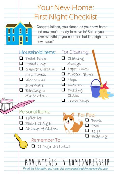 new house checklist of things needed adventures in homeownership first night in a new home