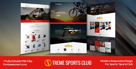 xtreme sports club psd template free download free