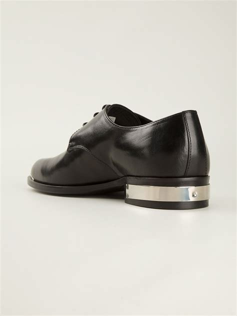 diesel black gold metal trim derby shoe in black for