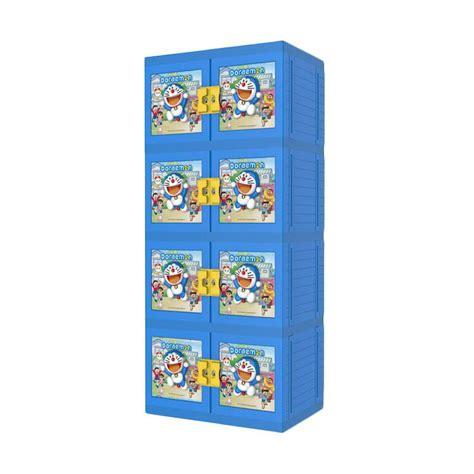 Lemari Plastik Lemari Pakaian Doraemon Naiba Susun4 jual lemari palstik 8574 doraemon biru no key