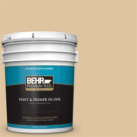 behr premium plus 5 gal s300 3 almond cookie satin enamel exterior paint 940005 the home depot