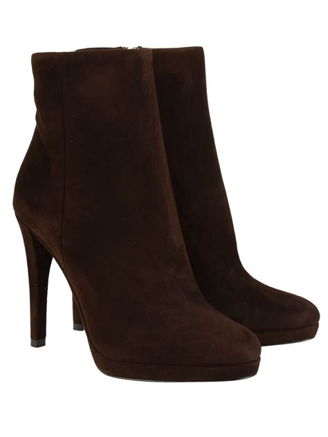 prada suede ankle boots in brown brown lyst