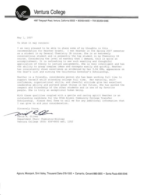 Letter Of Recommendation For X Student personal reference letter for college new calendar