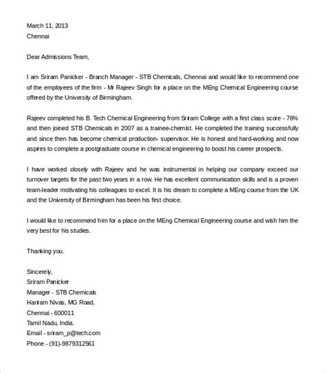 Recommendation Letter For Engineering College 27 recommendation letter templates free sle exle