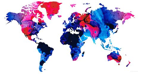 the art of worldly map of the world 9 colorful abstract art painting by sharon cummings