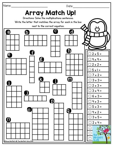 Arrays Worksheets by Array Match Up Solve The Multiplication Sentences And