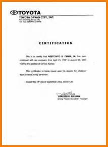 Certification Of Employment Letter Format 7 Certificate Of Employment Format Nurse Homed