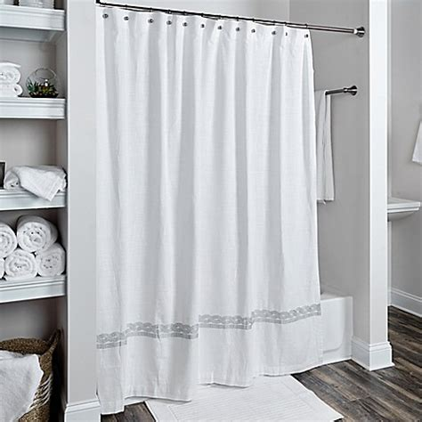 silver and white shower curtain buy rizzy home cable embroidered shower curtain in white