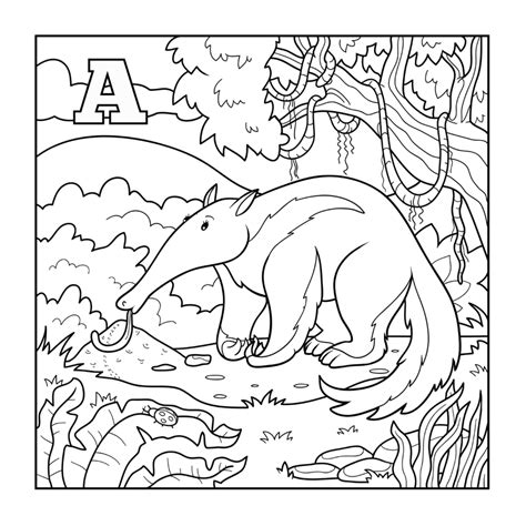 Anteater Coloring Page by Aardvark Coloring Pages