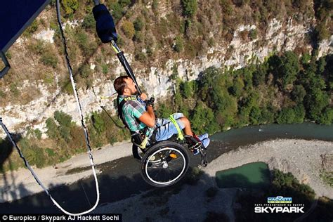 paraplegic aleksey mayuk bungee jumps while strapped into - Bungee Jumping Chair