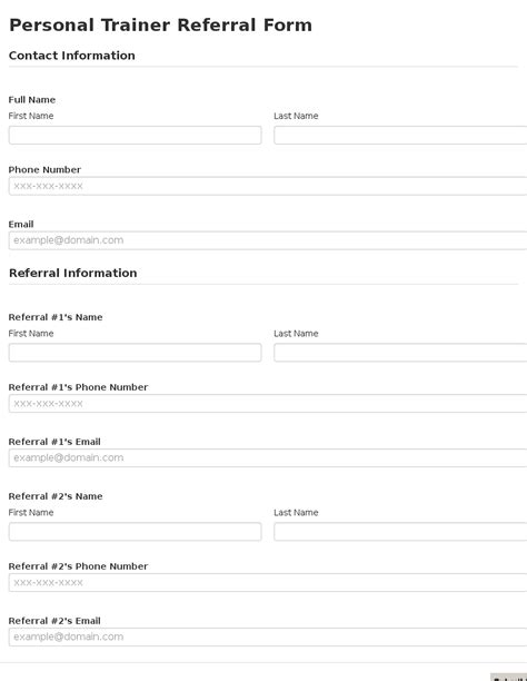 referral form template business form template gallery