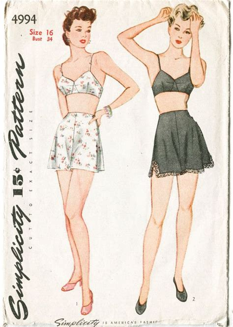 vintage undergarments pattern simplicity 4994 169 1940s bust 32 waist 26 1 2 hips 35