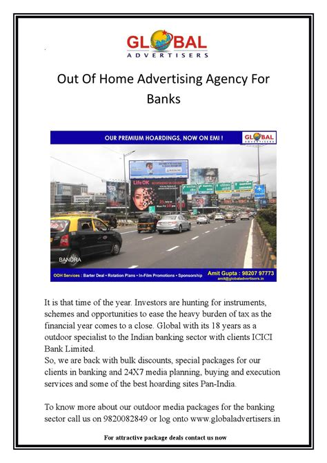 out of home advertising agency for banks in dadar global