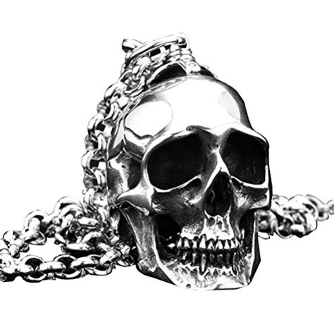 Why Arent You Wearing This Teardrop And Skull Earrings by Pauro S Stainless Steel Biker Skull Pendant