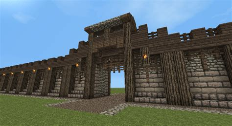 minecraft walls tutorial detailed medieval wall entrance now with added guard