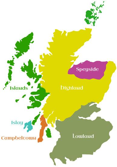 sectioned scotland whisky map spirit of scotland