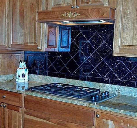 black tile backsplash black galaxy backsplash