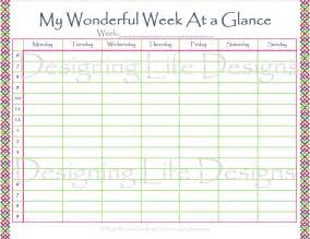 week at a glance template week at glance template calendar template 2016