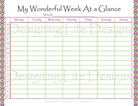 6 best images of printable week at a glance calendar