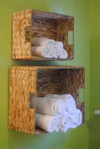 baskets for bathroom storage diy bathroom towel storage in 5 minutes lemonade